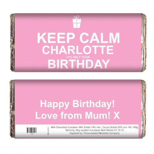 Personalised Keep Calm Birthday Chocolate Bar Pink